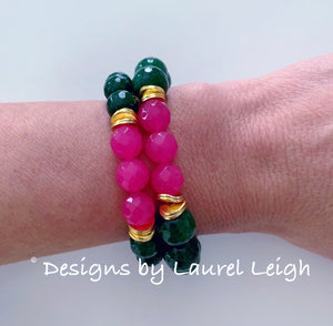 Green & Pink Gemstone Statement Bracelet - Two Options - Ginger jar