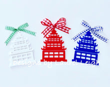 Load image into Gallery viewer, Chinoiserie Chic PAGODA Christmas Ornament - 4 Solid Colors - Pick Ribbon - Ginger jar