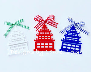 Chinoiserie Chic PAGODA Christmas Ornament - 4 Solid Colors - Pick Ribbon - Ginger jar