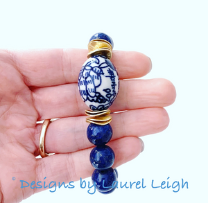 Blue and White Chinoiserie Floral Calligraphy Bead Statement Bracelet - Lapis Lazuli Gemstones