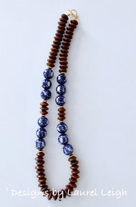 Chunky Long Brown Chinoiserie Double Happiness Beaded Statement Necklace - Ginger jar