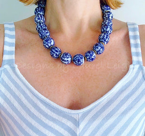 Blue and White Chinoiserie Chunky Floral Chinese Character Statement Necklace - Ginger jar