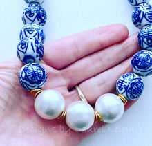 Load image into Gallery viewer, Blue and White Chinoiserie Jumbo Pearl Chunky Statement Necklace - Designs by Laurel Leigh