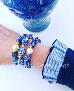 Blue and White Chinoiserie Longevity Symbol Beaded Statement Bracelet - Ginger jar