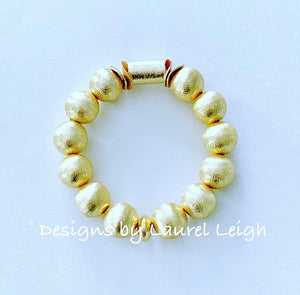 Gold Chunky Beaded Statement Bracelet - Ginger jar