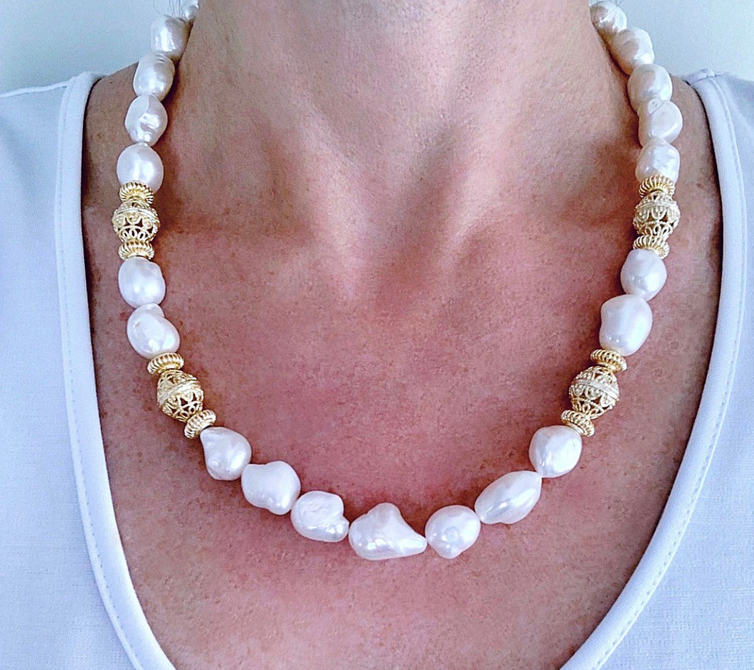 Baroque Pearl and Gold Bead Statement Necklace - Ginger jar