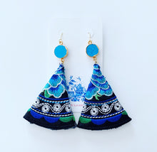 Load image into Gallery viewer, Turquoise & Black Floral Mexican Embroidered Earrings - Ginger jar