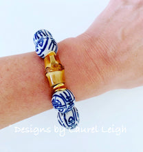 Load image into Gallery viewer, Chunky Blue and White Chinoiserie Bamboo Statement Bracelet - Ginger jar
