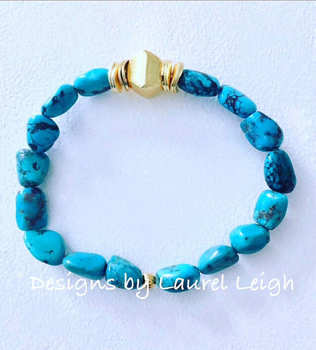 Genuine Natural Turquoise Nugget and Gold Beaded Bracelet - Designs by Laurel Leigh