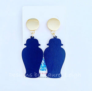 Chinoiserie Chic Ginger Jar Statement Earrings - Six Color Options - Ginger jar