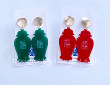 Load image into Gallery viewer, Chinoiserie Chic Double Happiness Ginger Jar Earrings - Red or Green - Ginger jar