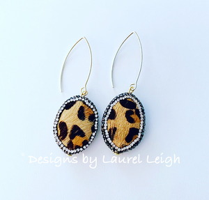 Pavé Leopard Drop Earrings - Ginger jar