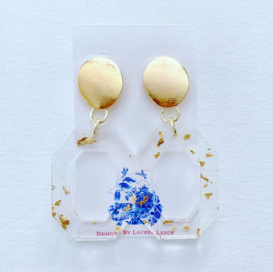 Gold Octagon Statement Earrings - Clear/Gold - Ginger jar