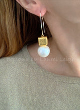 Load image into Gallery viewer, Gold & Jumbo Cotton Pearl Statement Earrings - Ginger jar