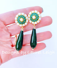 Load image into Gallery viewer, Gold Teardrop Earrings - Emerald Green Gemstone & Pearls - Ginger jar