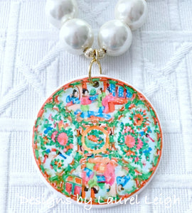 Rose Medallion Chinoiserie Pendant Necklace - Chunky Pearls - Ginger jar