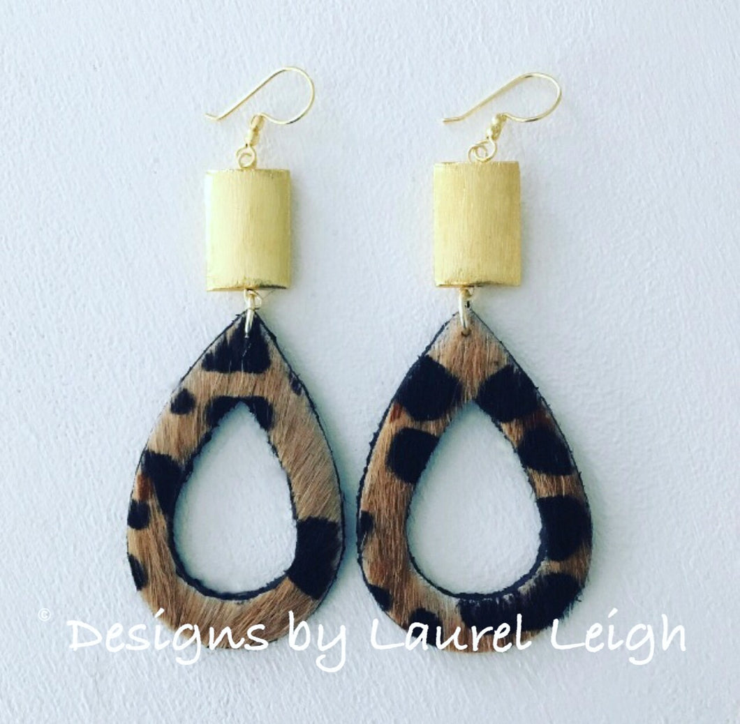 Gold and Leather Leopard Print Cutout Teardrop Earrings - Ginger jar