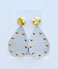 Load image into Gallery viewer, Silver and Gold Two-tone Faux Leather Studded Statement Earrings - Ginger jar