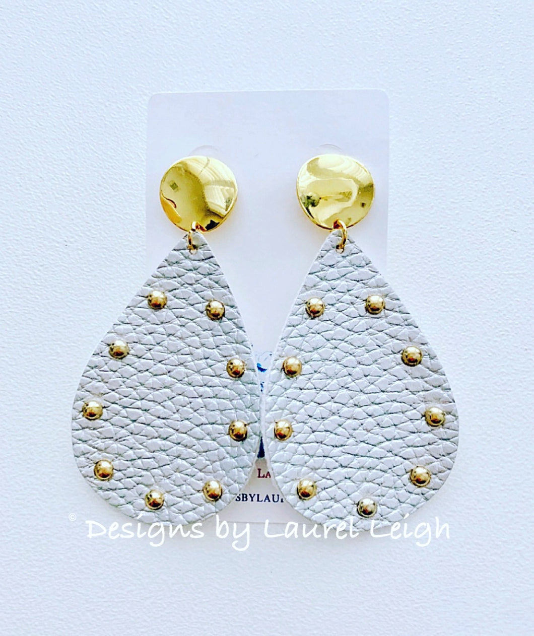 Silver and Gold Two-tone Faux Leather Studded Statement Earrings - Ginger jar