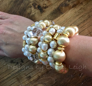 Gold and Crystal Chunky Beaded Statement Bracelet - Designs by Laurel Leigh