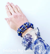 Load image into Gallery viewer, Blue and White Chinoiserie Dainty Lapis Gemstone Beaded Bracelet - Sold Individually - Ginger jar