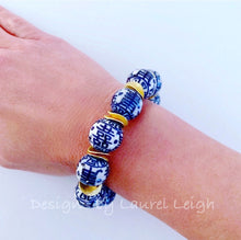 Load image into Gallery viewer, Chunky Blue and White Chinoiserie Double Happiness Bead Statement Bracelet - Ginger jar