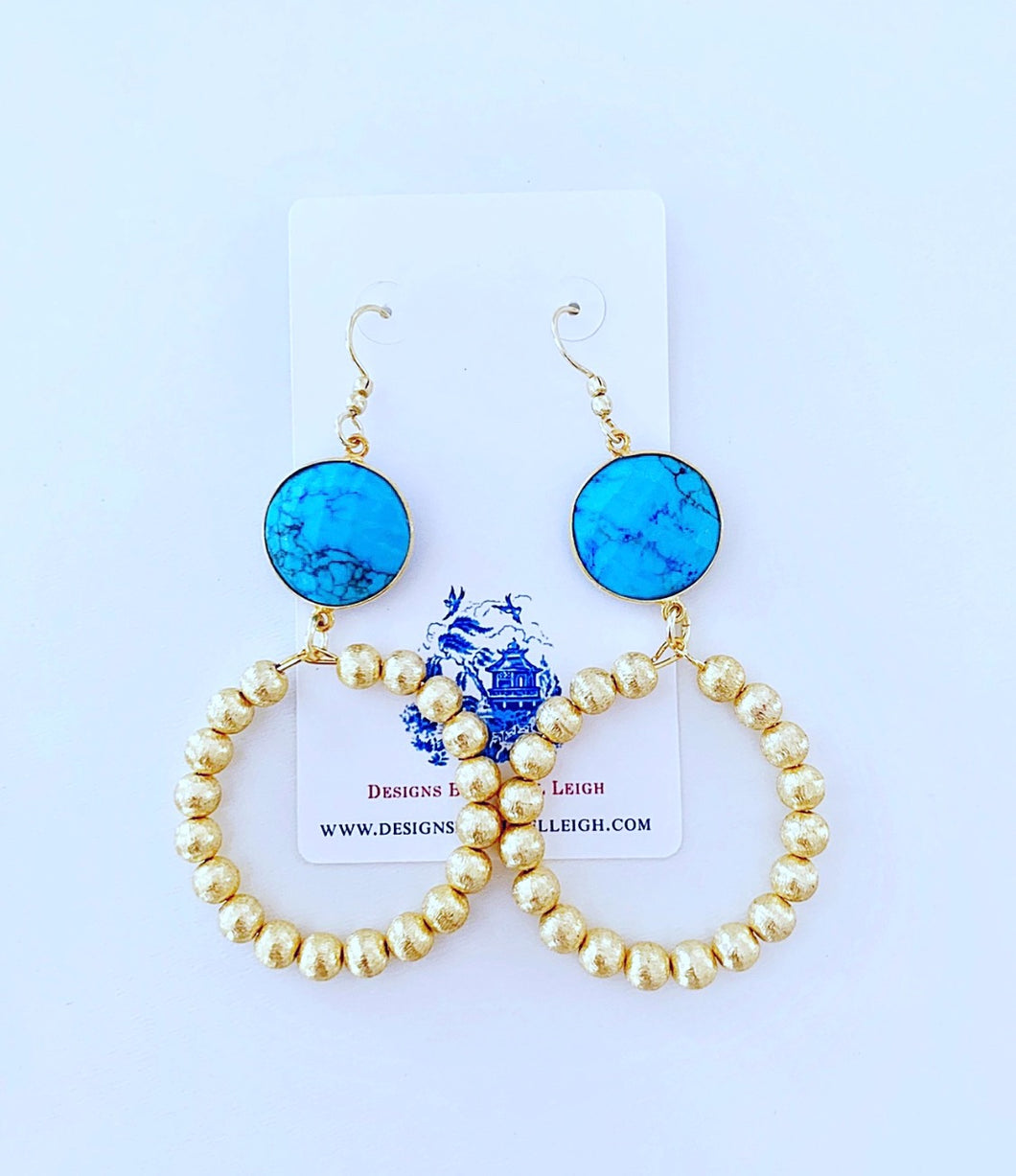 Turquoise Gemstone & Gold Beaded Hoops - Ginger jar