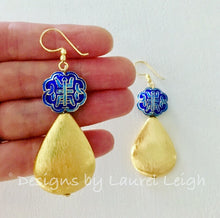 Load image into Gallery viewer, Chinoiserie Symbol Teardrop Earrings - Gold & Royal Blue - Ginger jar
