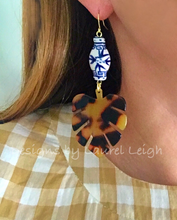 Load image into Gallery viewer, Chinoiserie Tortoise Shell Tropical Palm Leaf Statement Earrings - BROWN or BLONDE - Ginger jar