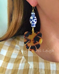Chinoiserie Tortoise Shell Tropical Palm Leaf Statement Earrings - BROWN or BLONDE - Ginger jar