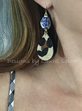 Load image into Gallery viewer, Chinoiserie Leather Leopard Print Statement Earrings - Small Teardrops - Ginger jar