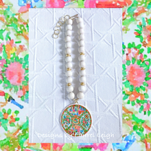 Load image into Gallery viewer, Rose Medallion Chinoiserie Pendant Necklace - White - Ginger jar