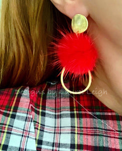 Red and Gold Fur Pompom Earrings - Posts - Ginger jar