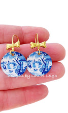 Load image into Gallery viewer, Blue and White Chinoiserie Watercolor Geisha & Bow Earrings