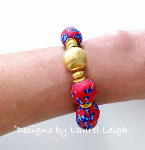 Red, White & Blue African Glass Statement Bracelet - Ginger jar