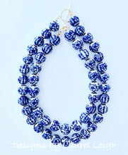 Load image into Gallery viewer, Blue and White Chinoiserie Chunky Floral Chinese Character Statement Necklace - Ginger jar