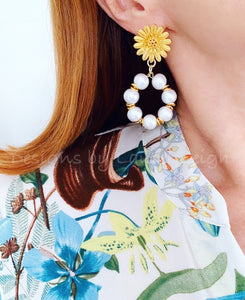 Gold Sunflower Cotton Pearl Hoop Earrings - Ginger jar
