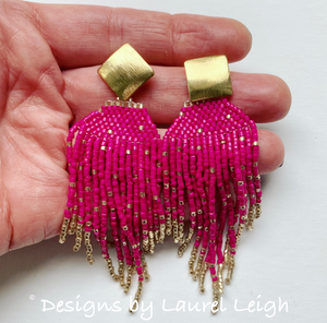 Dressy Seed Bead Tassel Statement Earrings - Gold & Black/Gray/Turquoise/White/Fuchsia - Designs by Laurel Leigh
