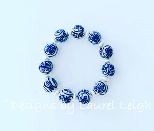 Blue and White Chinoiserie Beaded Statement Bracelet - Longevity Symbol w/ Silver - Ginger jar