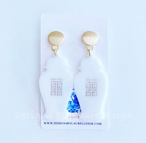 Chinoiserie Chic Double Happiness Ginger Jar Earrings - Royal or White