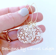 Load image into Gallery viewer, Mother of Pearl Floral Earrings - White & Gold - Ginger jar