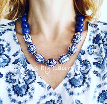 Load image into Gallery viewer, Chunky Blue & White Lapis Chinoiserie Statement Necklace - Oval Porcelain - Ginger jar