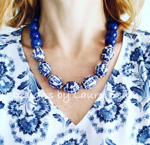 Chunky Blue & White Lapis Chinoiserie Statement Necklace - Oval Porcelain - Ginger jar
