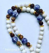 Load image into Gallery viewer, Blue and White Chinoiserie Double Happiness Leopard Print Tassel Statement Necklace - Designs by Laurel Leigh