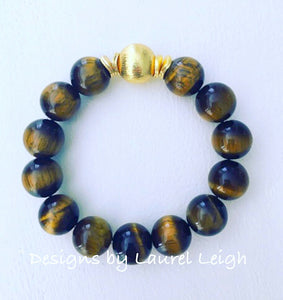 Brown Tiger's Eye Gemstone and Gold Beaded Bracelet - Chunky - Designs by Laurel Leigh