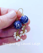 Load image into Gallery viewer, Chinoiserie Dainty Pearl Cluster Earrings - Ginger jar