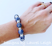 Load image into Gallery viewer, Blue and White Chinoiserie Beaded Statement Bracelet - Longevity Symbol w/ Silver - Ginger jar