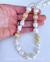 Load image into Gallery viewer, Baroque Pearl and Gold Bead Statement Necklace - Ginger jar