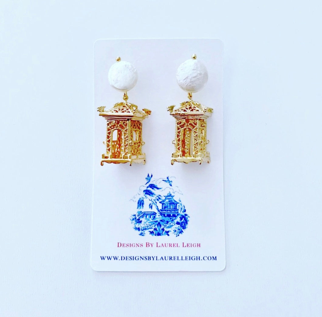 Chinoiserie Gold & Pearl Pagoda Earrings - Two Styles - Ginger jar