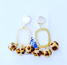 Load image into Gallery viewer, Gold Faux Leather Leopard Chandelier Drop Statement Earrings - Posts - Ginger jar